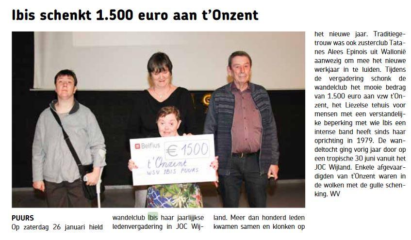 't Onzent 1500 euro